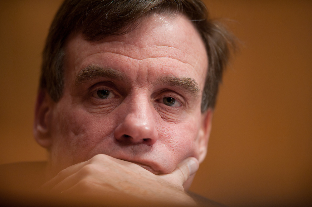 Senators MARK WARNER (D-VA) listens to testimony during a Senate Budget Committee Hearing on the report of the National Commission on Fiscal Responsibility and Reform.