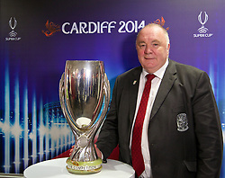 +++ FREE USE FOR STORIES PROMOTING THE UEFA SUPER CUP 2014 ONLY +++<br /> <br /> CARDIFF, WALES - Monday, February 17, 2014: FAW FAW President Trefor Lloyd-Hughes at the launch the UEFA Super Cup 2014 which will be played at the Cardiff City Stadium on 12th August. (Pic by David Rawcliffe/Propaganda)