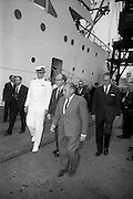 2/7/1964<br /> 7/2/1964<br /> 2 July 1964<br /> <br /> The N.S. Savannah arriving in Dublin for its first stop in Europe and the Captain meeting people as he debarks