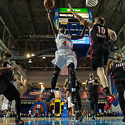 Delaware 87ers Guard Aquille Carr (4) drives towards the basket in the first half of a NBA D-league regular season basketball game between Delaware 87ers and Idaho Stampede Thursday, Dec. 12, 2013 at The Bob Carpenter Sports Convocation Center, Newark, DE