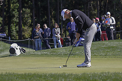 October 21, 2017 - Seogwipo, Jeju Island, South Korea - Lucas Glover of USA putt action on the 10th hole during an PGA TOUR CJ CUP NINE BRIDGE DAY 3 at Nine Bridge CC in Jeju Island, South Korea. (Credit Image: © Ryu Seung Il via ZUMA Wire)