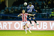 Fernando Forestieri of Sheffield Wednesday heads the ball during the EFL Sky Bet Championship match between Sheffield Wednesday and Stoke City at Hillsborough, Sheffield, England on 22 October 2019.