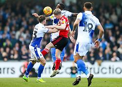 Grant Leadbitter of Sunderland is challenged by Alex Rodman and Abu Ogogo of Bristol Rovers - Rogan/JMP - 23/02/2019 - FOOTBALL - Memorial Stadium - Bristol, England - Bristol Rovers v Sunderland - EFL Sky Bet League One.