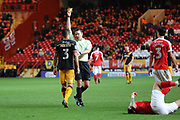 Bradford City defender James Meredith (3) yellow card during the EFL Sky Bet League 1 match between Charlton Athletic and Bradford City at The Valley, London, England on 14 March 2017. Photo by Matthew Redman.