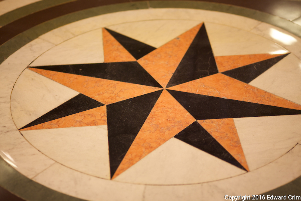 Compass rose at the bottom of the grand stair of the Illinois capitol.