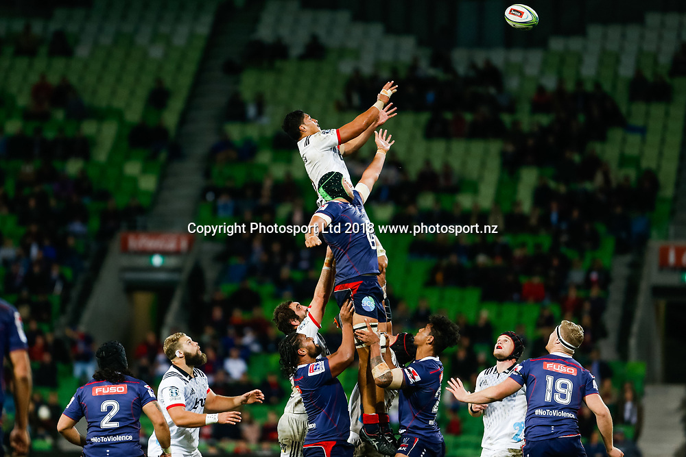 Peter Samu during Rebels v Crusaders, 2018 Super Rugby season, AAMI Park, Melbourne, Australia. 4 May 2018. Copyright Image: Brendon Ratnayake / www.photosport.nz