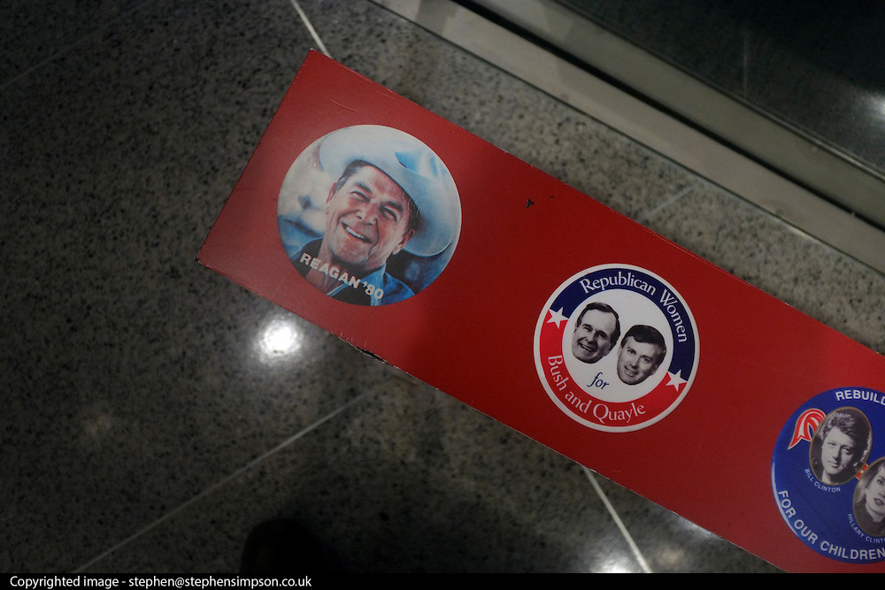 © Licensed to London News Pictures. 02/01/2013. Washington DC, USA .  Campaign buttons for past presidential campaigns at the 'Newseum' in Washington DC.  Photo credit : Stephen Simpson/LNP