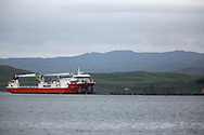 The Mikal With, a supply ship for MOWI, the Norwegian-owned aquaculture company working at a salmon farm on the west coast of Scotland.<br /> <br /> Photograph © Colin McPherson, 2019 all rights reserved