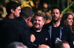 (From left to right) Jack Whitehall, James Corden and Jamie Redknapp at Madison Square Garden, New York.