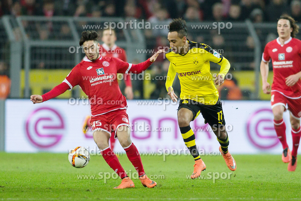 13.03.2016, Signal Iduna Park, Dortmund, GER, 1. FBL, Borussia Dortmund vs 1. FSV Mainz 05, 26. Runde, im Bild Suat Serder (FSV Mainz 05 #45) im Zweikampf gegen Pierre-Emerick Aubameyang (Borussia Dortmund #17) // during the German Bundesliga 26th round match between Borussia Dortmund and 1. FSV Mainz 05 at the Signal Iduna Park in Dortmund, Germany on 2016/03/13. EXPA Pictures &copy; 2016, PhotoCredit: EXPA/ Eibner-Pressefoto/ Schueler<br /> <br /> *****ATTENTION - OUT of GER*****