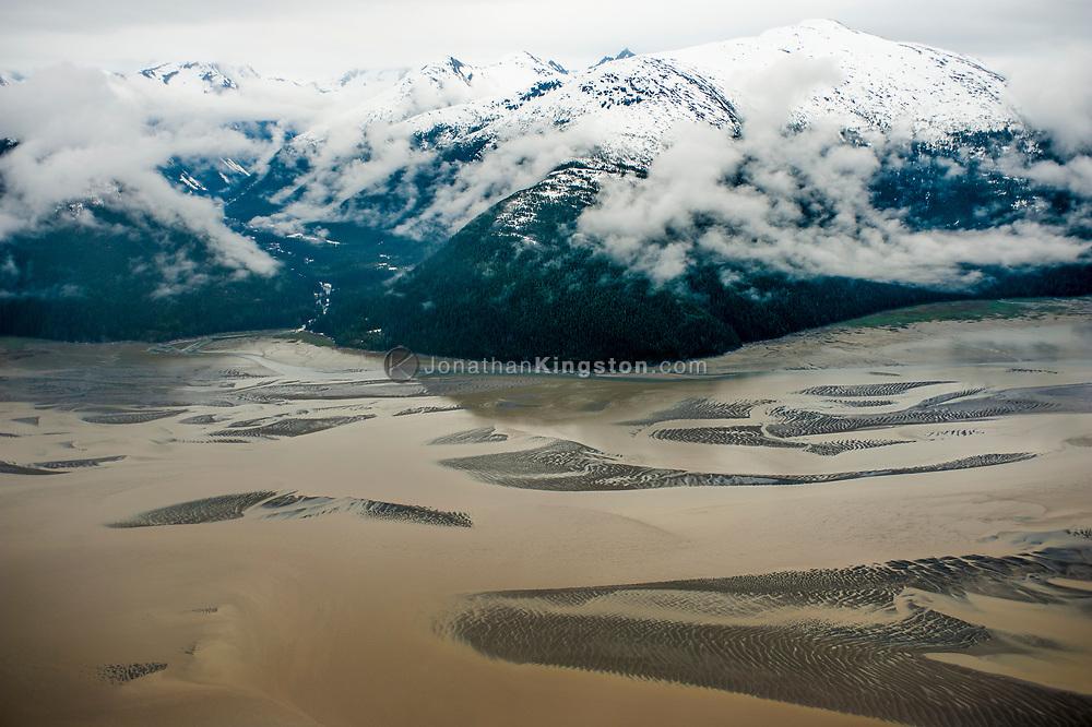 Aerial view of Taku Inlet near Juneau, Alaska.