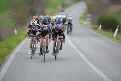 Claudia Lichtenberg (Wiggle High5) attacks followed by Trixi Worrack (CANYON//SRAM Racing) and Floortje Mackaij (Sunweb) at Strade Bianche - Elite Women. A 127 km road race on March 4th 2017, starting and finishing in Siena, Italy. (Photo by Sean Robinson/Velofocus)