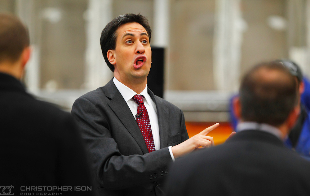Labour Leader Ed Miliband during a visit to Griffon Hoverwork in Southampton.