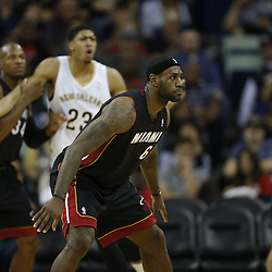 Mar 22, 2014; New Orleans, LA, USA; Miami Heat forward LeBron James (6) against the New Orleans Pelicans during the second half of a game at the Smoothie King Center. The Pelicans defeated the Heat 105-95. Mandatory Credit: Derick E. Hingle-USA TODAY Sports
