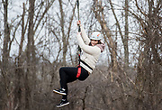 Olivia Grabill ziplines during the 'Zipline Adventure' oppurtunity held at the ridges during Sibs Weekend 2018.