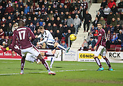 Dundee&rsquo;s Rory Loy curls home his side's equaliser - Hearts v Dundee - SPFL Premiership at Tynecastle<br /> <br />  - &copy; David Young - www.davidyoungphoto.co.uk - email: davidyoungphoto@gmail.com