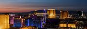 Panoramic view of the Las Vegas Strip, NV, USA at sunset