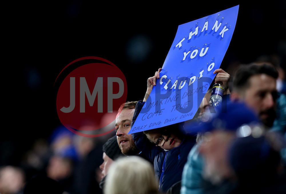 A Young Leicester City fan holds up a sign of thanks to former manager Claudio Ranieri - Mandatory by-line: Robbie Stephenson/JMP - 27/02/2017 - FOOTBALL - King Power Stadium - Leicester, England - Leicester City v Liverpool - Premier League