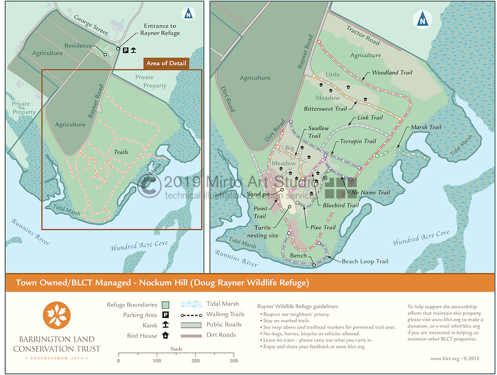 Vector map illustration of the Rayner Wildlfe Refuge managed by the Barrington Land Conservation Trust of Barrington, Rhode Island. The maps shows the designated trail system and points of interest of the property.