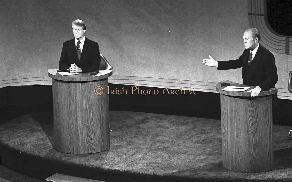 James 'Jimmy' Carter and Gerald Ford  taking part in the first televised debate between candidates for the post of  President of the United States during the 1976 election.  Carter became 39th President. American Democrat Politician