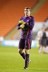 BLACKPOOL, ENGLAND - Wednesday, December 18, 2013: Liverpool's goalkeeper Ryan Crump before the penalty shoot-out against Blackpool during the FA Youth Cup 3rd Round match at Bloomfield Road. (Pic by David Rawcliffe/Propaganda)