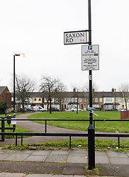 © Licensed to London News Pictures. 01/02/2019. London, UK.  Police tape seen on a lamppost next to a park area in Saxton Road in Newham where the police were called last night to reports of an abandoned baby. Photo credit: Vickie Flores/LNP
