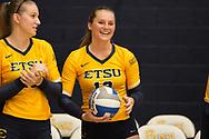 September 19, 2017 - Johnson City, Tennessee - Brooks Gym: ETSU setter Alyssa Kvarta (12) celebrates 1000 assists.<br /> <br /> Image Credit: Dakota Hamilton/ETSU