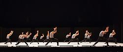 "© Licensed to London News Pictures. 19/11/2012. London, England. Batsheva Ensemble, the younger branch of Israel's world-renowned contemporary dance group, Batsheva Dance Company  perform ""Deca Dance"" at Sadler's Wells Theatre, London from 19 to 21 November 2012. Dancers: Mario Bermudez Gil, Noam Eidelman Shatil, Tamir Eting, Mariko Katizaki, Keren Lurie-Pardes, Rani Lebzelter, Shaked Leibzirer, Shani Licht, Ayelet Nadav, Or Schraiber, Shane Scopatz, Gil Shachar, Oz Shoshan, Maya Tamir, Eduard Turull and Zina Zinchenko. Photo credit: Bettina Strenske/LNP"