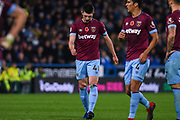 Declan Rice of West Ham United (41) walks with his head down into the area as West Ham are about to take a corner during the Premier League match between Huddersfield Town and West Ham United at the John Smiths Stadium, Huddersfield, England on 10 November 2018.