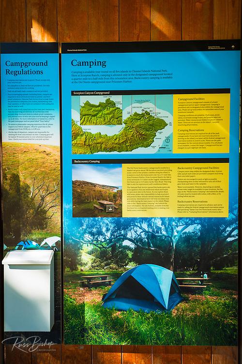 Camping information at Scorpion Ranch, Santa Cruz Island, Channel Islands National Park, California USA