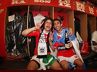 20100509: LISBON, PORTUGAL - SL Benfica vs Rio Ave: Portuguese League 2009/2010, 30th round. Players celebrations in the locker room. In picture: David Luiz and Angel Di Maria. PHOTO: CITYFILES