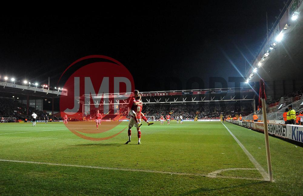 Bristol City's Joe Bryan celebrates with Bristol City's Matt Smith  - Photo mandatory by-line: Joe Meredith/JMP - Mobile: 07966 386802 - 10/02/2015 - SPORT - Football - Bristol - Ashton Gate - Bristol City v Port Vale - Sky Bet League One
