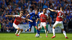 CARDIFF, WALES - Sunday, September 2, 2018: Cardiff City's Víctor Camarasa (centre) and Arsenal's Nacho Monreal during the FA Premier League match between Cardiff City FC and Arsenal FC at the Cardiff City Stadium. (Pic by David Rawcliffe/Propaganda)