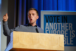 "© Licensed to London News Pictures. 28/05/2016. London, UK. OWEN JONES speaking at ""Another Europe is Possible"" rally at UCL Institute of Education in London, campaigning for a remain vote at the upcoming EU referendum.  Speakers at the event include Shadow Chancellor John McDonnell and Green Party MP Caroline Lucas. Photo credit: Tolga Akmen/LNP"