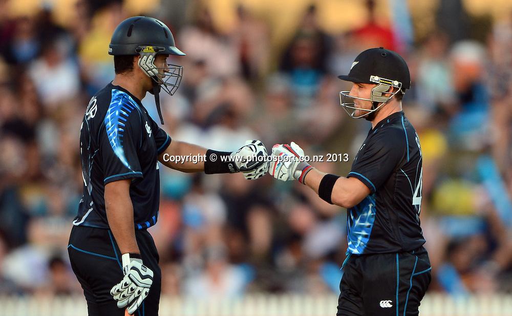 Brendon McCullum and Ross Taylor. ANZ T20 Series. 2nd Twenty20 Cricket International. New Zealand Black Caps versus England at Seddon Park, Hamilton, New Zealand. Tuesday 12 February 2013. Photo: Andrew Cornaga/Photosport.co.nz