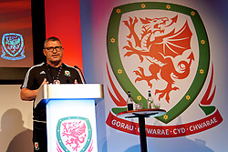 NEWPORT, WALES - Sunday, May 28, 2017: Osain Roberts during day three of the Football Association of Wales' National Coaches Conference 2017 at the Celtic Manor Resort. (Pic by David Rawcliffe/Propaganda)