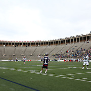 Will Manny #1 and his teammates from the Boston Cannons compete against the Chesapeake Bayhawks during the game at Harvard Stadium on April 27, 2014 in Boston, Massachusetts. (Photo by Elan Kawesch)