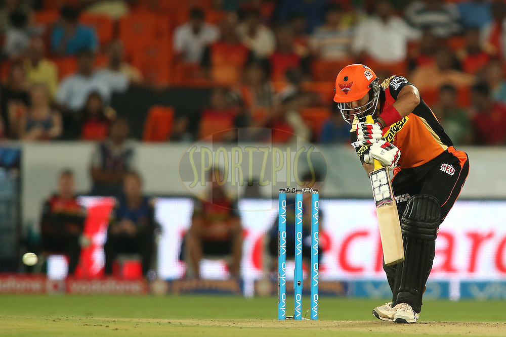 Naman Ojha of Sunrisers Hyderabad plays a delivery behind square during match 22 of the Vivo IPL 2016 (Indian Premier League) between the Sunrisers Hyderabad and the Rising Pune Supergiants held at the Rajiv Gandhi Intl. Cricket Stadium, Hyderabad on the 26th April 2016<br /> <br /> Photo by Shaun Roy / IPL/ SPORTZPICS