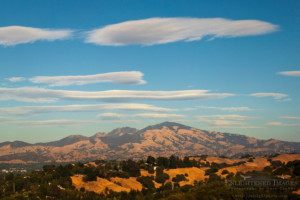 Lenticular clouds over Mount Diablo; as seen from Lafayette; California