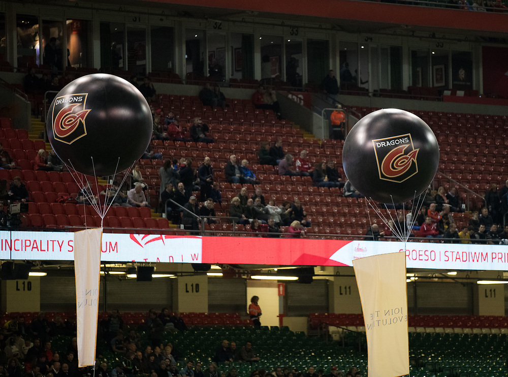 Balloons with Dragons branding<br /> <br /> Photographer Simon King/Replay Images<br /> <br /> Guinness PRO14 Round 21 - Dragons v Scarlets - Saturday 28th April 2018 - Principality Stadium - Cardiff<br /> <br /> World Copyright © Replay Images . All rights reserved. info@replayimages.co.uk - http://replayimages.co.uk