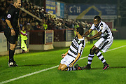 Forest Green Rovers Fabien Robert(26) celebrates his 2nd goal with Forest Green Rovers Dale Bennett(6) during the Vanarama National League match between Aldershot Town and Forest Green Rovers at the EBB Stadium, Aldershot, England on 4 October 2016. Photo by Shane Healey.