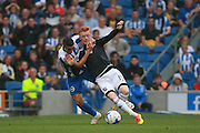 Brentford midfielder Ryan Woods (15) & Brighton & Hove Albion winger Anthony Knockaert during the EFL Sky Bet Championship match between Brighton and Hove Albion and Brentford at the American Express Community Stadium, Brighton and Hove, England on 10 September 2016. Photo by Bennett Dean.