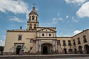 The Holy Cross Church and Franciscan Convent also called the Templo y Convento de la Santa Cruz on Founders Plaza in the old colonial section of Santiago de Queretaro, Queretaro State, Mexico.