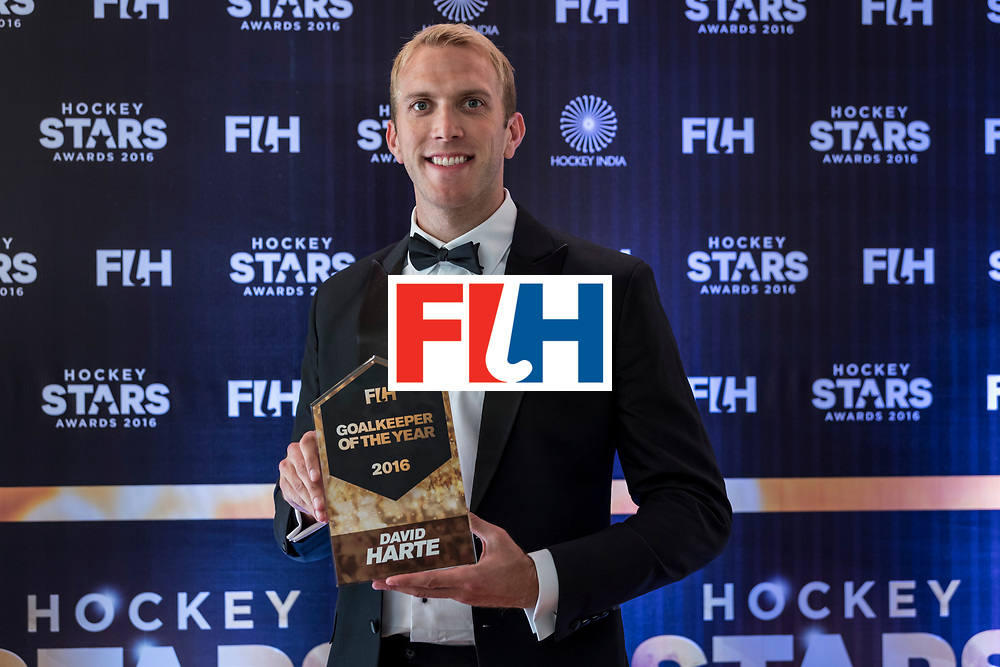 CHANDIGARH, INDIA - FEBRUARY 23: FIH Male Goal Keeper of the Year David Harte of Ireland poses for a picture during the FIH Hockey Stars Awards 2016 at Lalit Hotel on February 23, 2017 in Chandigarh, India. (Photo by Ali Bharmal/Getty Images for FIH)