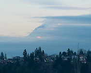 Mt Ranier peeking out over tacoma