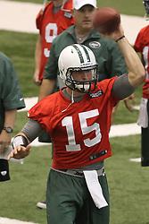 June 12, 2012; Florham Park, NJ, USA; New York Jets quarterback Tim Tebow (15) during New York Jets Minicamp at the Atlantic Health Training Center.