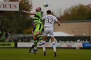 Forest Green Rovers striker Rhys Murphy (39) wins a header 0-0 during the Vanarama National League match between Forest Green Rovers and Dagenham and Redbridge at the New Lawn, Forest Green, United Kingdom on 29 October 2016. Photo by Alan Franklin.