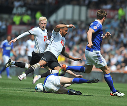 IPSWICH COLE SKUSE BRINGS DOWN DERBY MARCUS OLSSON, Derby County v Ipswich Town Championship, IPro Stadium, Saturday 7th May 2016. Photo:Mike Capps