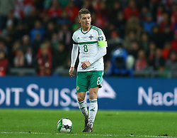 November 12, 2017 - Basel, Switzerland - Steven Davis of Northern Ireland  during the FIFA 2018 World Cup Qualifier Play-Off: Second Leg between Switzerland and Northern Ireland at St. Jakob-Park on November 12, 2017 in Basel, Basel-Stadt. (Credit Image: © Matteo Ciambelli/NurPhoto via ZUMA Press)
