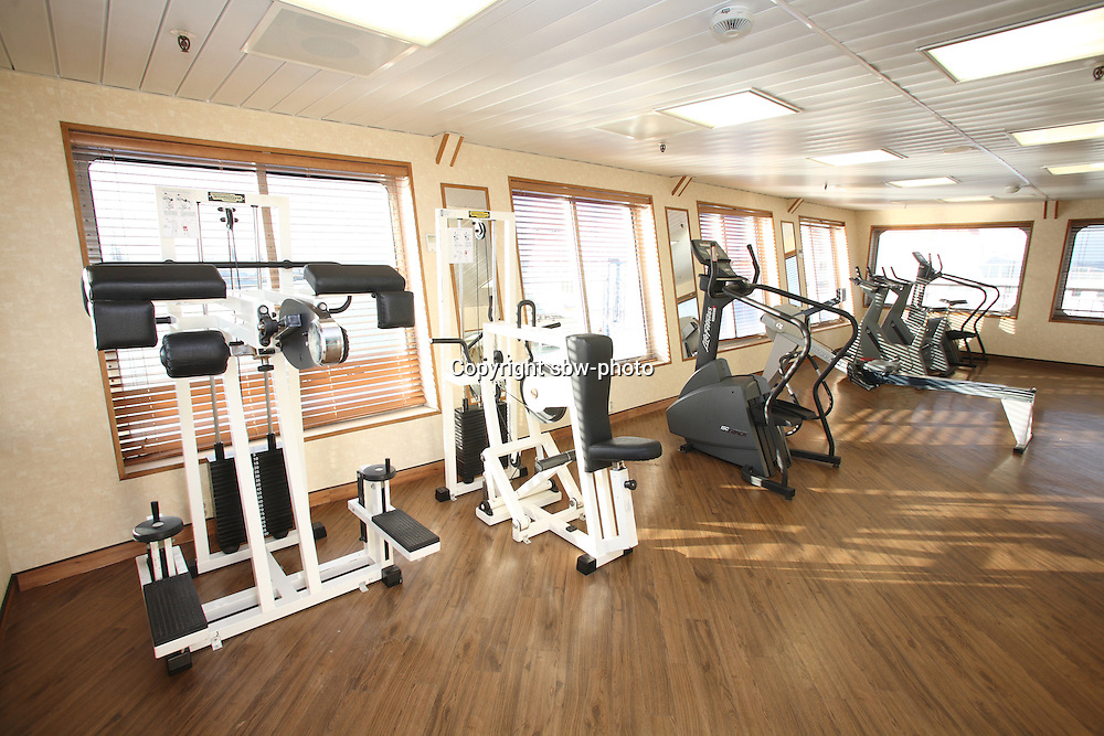 Voyages of Discovery's newly refurbished ship mv Voyager arrives in Portsmouth, UK, ahead of it's naming ceremony on Tuesday..The Fitness Centre.